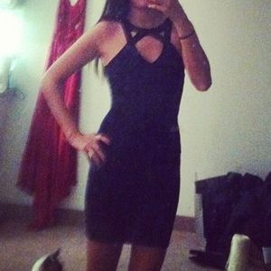 Herve Leger Black Cross Front Bandage Dress XS